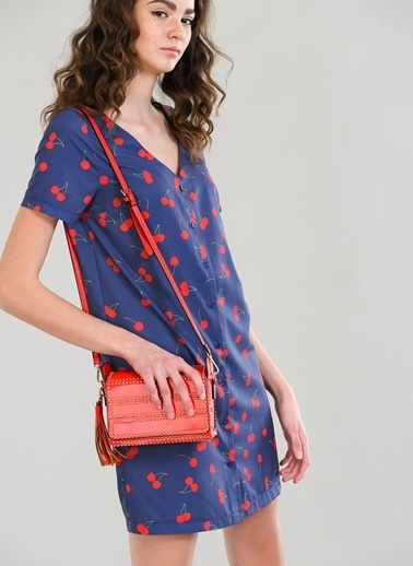 Agenda Kiraz Desenli Elbise Lacivert